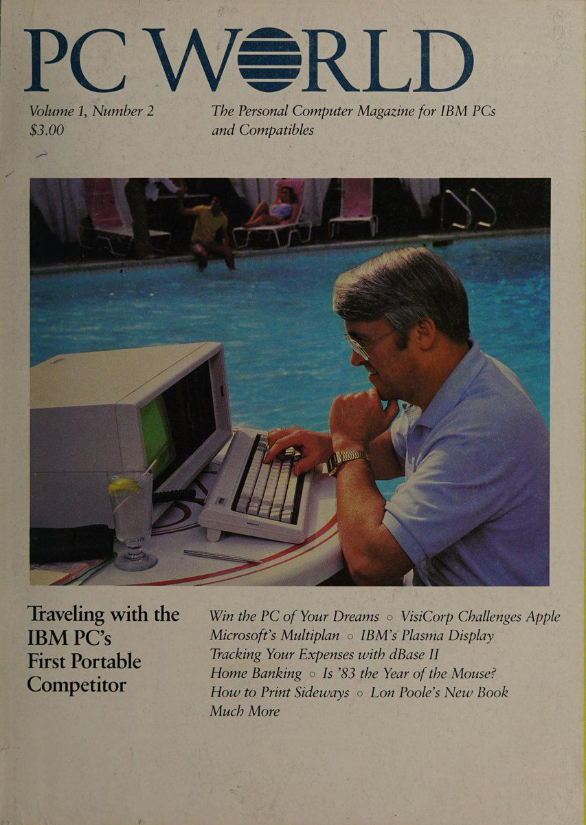 PC World issue 2 with first IBM portable poolside