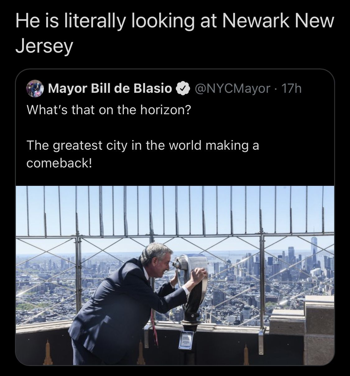 De Blasio looking at Newark greatest city on earth