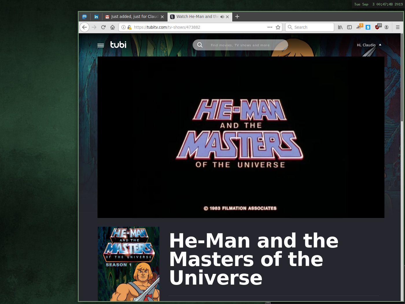 Cwm on OpenBSD with Firefox on TubiTV. He-Man and the Masters of the Universe is playing without issue. The title screen is showing in the video window.